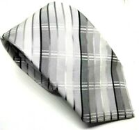 "Jeff Banks Men's Tie Grey Checkered 100% Silk 3.75"" Width 57"" Length"