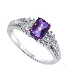 Fashion Wedding Engagement Emerald Amethyst Sterling Silver Ring