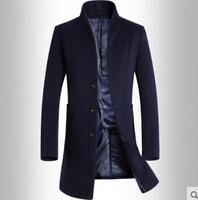 Men Long Wool Trench Single Breasted Stand Collar Slim Pea Coat Overcoat Ske15