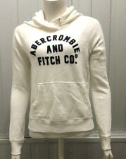 Abercrombie & Fitch Unisex Applique Logo Graphic Hoodie White - XS