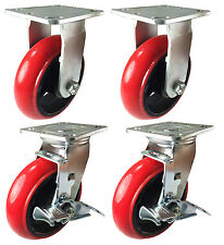 "4"" Heavy Duty Cast Iron Hub Non Skid Mark (Round) Wheel 2 Rigid & 2 Swivel Brake"