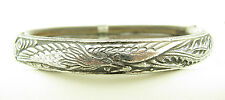 Excellent Antique Chinese Silver Repousse Bamboo Rattan Bird Bangle Bracelet