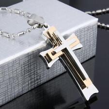 Present Unisex Gift Three Layers New Men's Necklace Cross Pendant Chain