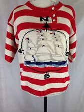 Red White Stripe Cotton SS Sweater Size Med Top Sailing Boats