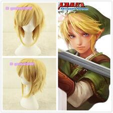 (The Legend of Zelda) Linke Link Golden Yellow Cosplay Anime Wig+free wig cap