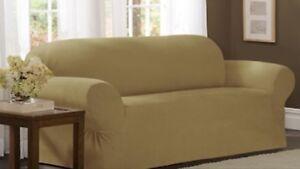 Maytex 1-pc Suede Sofa Slipcover Elastic Corners Flax