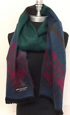 100% CASHMERE SCARF Wrap Chevron Blue/Wine/green/brown MADE IN SCOTLAND SOFT