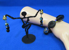 Vintage Jewelry Black Clear Faceted Beaded Stretch Bracelet & Clip On Earrings