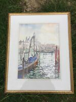VINTAGE SIGNED PETER McLAUGHLIN WATERCOLOUR PAINTING BOATS BOAT IN HARBOUR