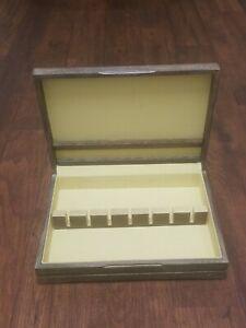 Flatware Silverware Wood Box Storage Chest  Anti Tarnish Yellow Lining Used