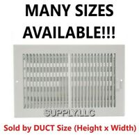 AIR REGISTER VENT COVER GRILLE AC Duct Sizes Wall Sidewall Ceiling Steel White