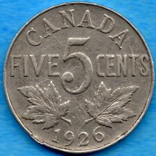 Canada 1926 5 Cents Five Cent Nickel Coin - Circulated