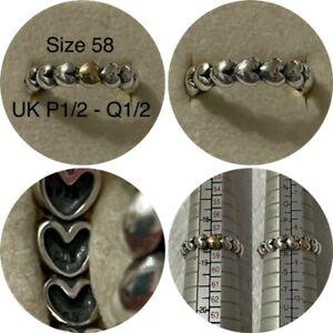 PANDORA SILVER & 14ct GOLD HEART STACKING RING SIZE 58 UK P1/2 - Q12 REF 190898