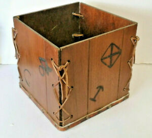 E** Unusual  Arts & Crafts wooden box with leather straps and markings