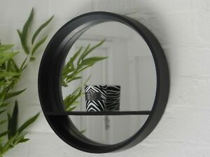 Black Mirror Glass Retro Display Shelf  Modern Round Wall Unit Bathroom Bedroom