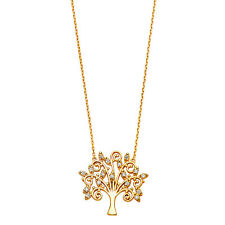 14K Solid Yellow Gold Tree of Life Filigree Diamond Pendant Necklace Chain