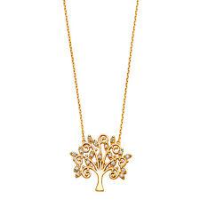 14K Solid Yellow Gold Tree of Life Filigree Diamond Pendant Necklace Chain
