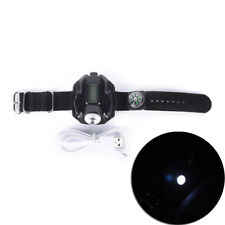 Tactical Waterproof LED Display Rechargeable Wrist Watch Flashlight Torch CJ