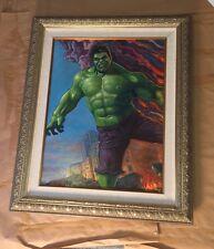 Original Oil Painting on Canvas Framed Incredible Hulk Marvel Disney