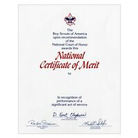 """BOY SCOUT OFFICIAL LICENSED NATIONAL COURT OF HONOR CERTIFICATE OF MERIT 8.5X10"""""""
