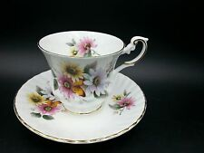 Vintage Queens Rosina Fine Bone China Cup & Saucer Floral Butterfly Unique Shape