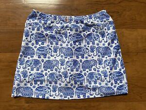 B Skinz Skort Size L White And Blue Elephant Pattern