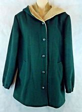 Ladies, Bromley Collection Hooded Long Coat, Size 6, Green Full Zip & Button