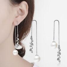 Ladies Elegant 925 Sterling Silver CZ Cubic Zirconia Leaf Tassel Dangle Earrings