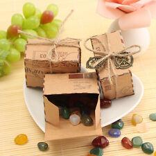 50pcs Boîte à Dragées Bonbons Cadeau Papier Kraft Box Pour Fête Mariage Baptême