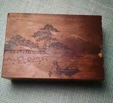 Vintage Antique Mt Fuji Japanese Secret Trick Puzzle Box Inlaid Wood