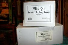 Dept 56 Frosted Topiary Trees #52019 & #52000 Heritage Village / Retired Nib
