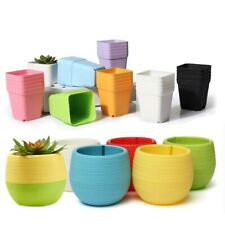 Flower Pot Square Round Plastic Small Planters Succulent Plant Tray Garden Decor