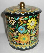 VTG 1960s Daher Tin Container Colorful Raised Floral Metal Tin Made In England