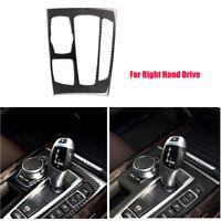 RHD Carbon Fiber Gear Shift Panel Decor Cover Trim For BMW X5 X6 F15 F16 14-17