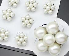 10 SILVER TONE WEDDING FAVOURS /PARTY CREAM FAUX PEARL FLOWER MINI- BROOCHES