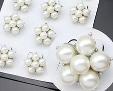 10 Tono Plata Fiesta Boda Favores/Crema Perlas de Imitación Flor Mini-Broches