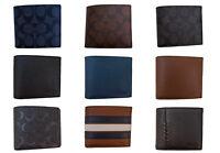 NEW Men's COACH Signature PVC / Leather Bi Fold Wallet Multiple Colors NWT