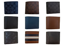 NEW Men's COACH Signature PVC / Leather Bi Fold Wallet Multiple Colors NWT