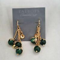 TALBOTS GOLD PLATED GREEN LUCITE TASSEL  HOOK EARRINGS