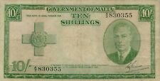 Malta P-21 10 shillings (1951) well used