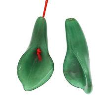 2 Green Aventurine 3D Carved Flower Bud Pendant Earring Beads #78298