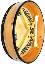 "16"" NATURAL BODHRAN with CASE/BEATER CELTIC CIRCLE ON HEAD"