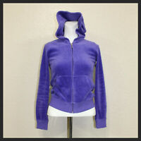 Juicy Couture Girls Purple Front Pocket Hoodie zipper down sweater Size 12