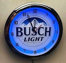"""16"""" BUSCH Light Beer Sign Blue Neon Wall Clock Garage Man Cave"""