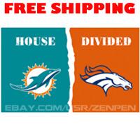 Miami Dolphins vs Denver Broncos House Divided Flag Banner 3x5 ft NFL 2019 NEW