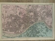1886 Newcastle & Gateshead Antique Hand Coloured City Plan by G.W. Bacon