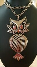 Owl Necklace, VINTAGE LARGE SILVERTONE OWL NECKLACE WITH DANGLE EYES BY ALAN