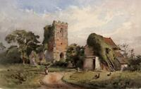CHURCH LANDSCAPE STANWAY ESSEX Victorian Watercolour Painting 1879