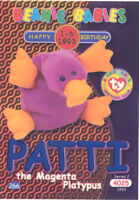 TY Beanie Babies BBOC Card - Series 2 Birthday (BLUE) PATTI the Magenta Platypus