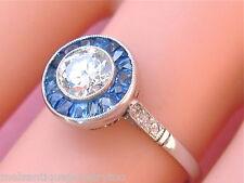 ESTATE ART DECO .60ct EUROPEAN DIAMOND SAPPHIRE HALO ENGAGEMENT PLATINUM RING